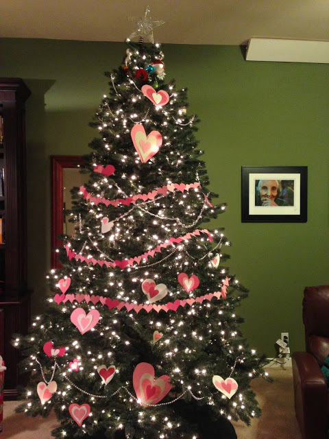 The erstwhile christmas tree all decked out for valentine s