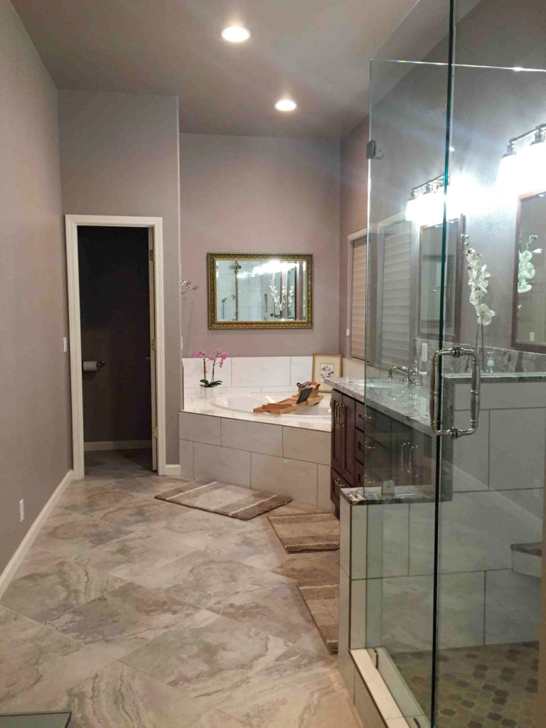 grey white master bathroom remodel