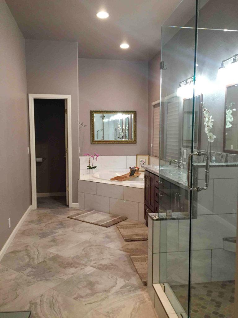 grey white master bathroom remodel