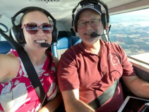 Shawna and Tim flying