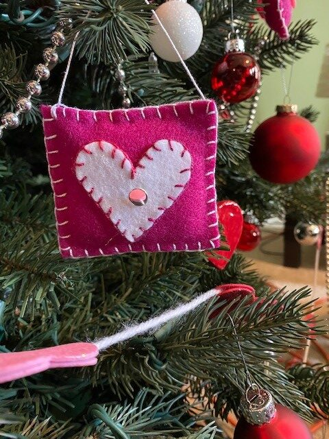 Heart ravioli ornament