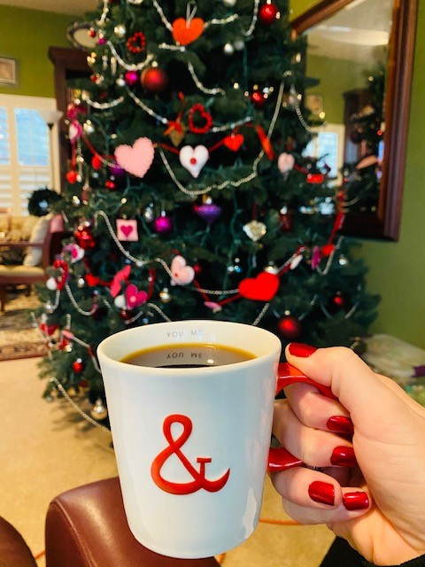 Coffee cup and Valentine's tree