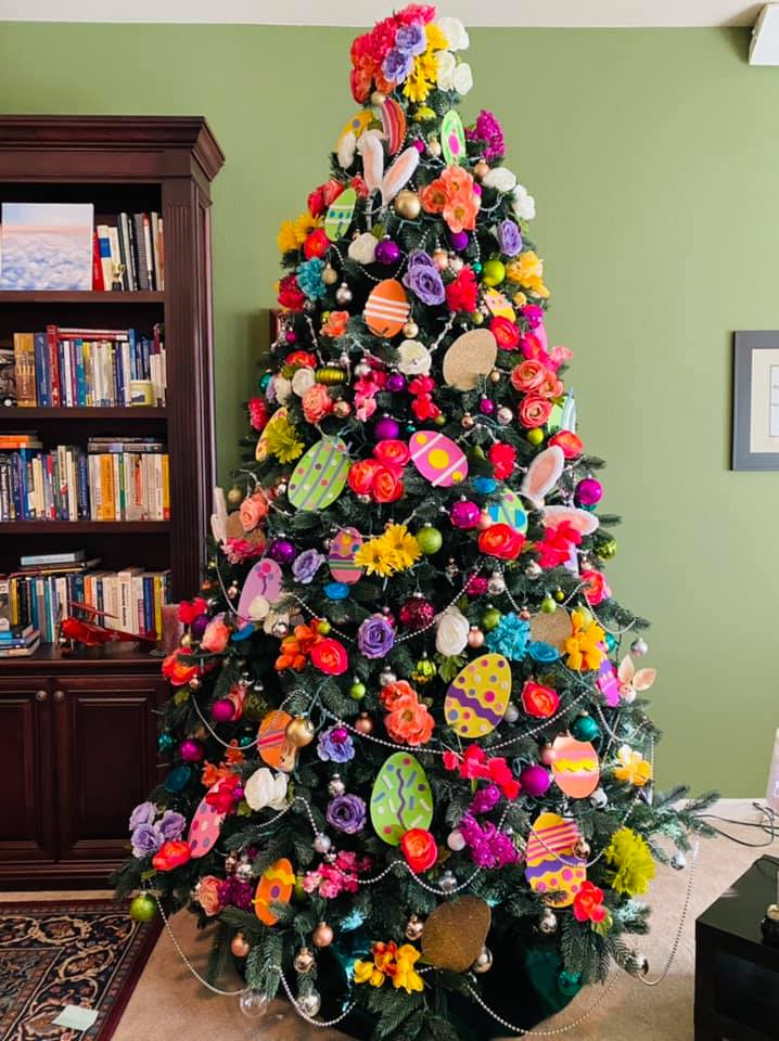 Easter egg tree with flowers