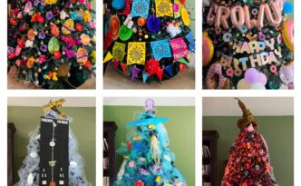 A collection of holiday trees