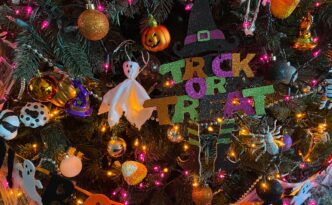Christmas tree decorated for Halloween